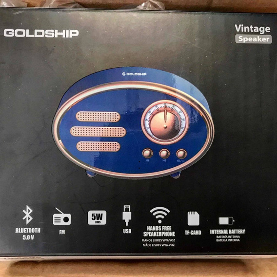 Caixa De Som Rádio Bluetooth Goldship Vintage Speaker
