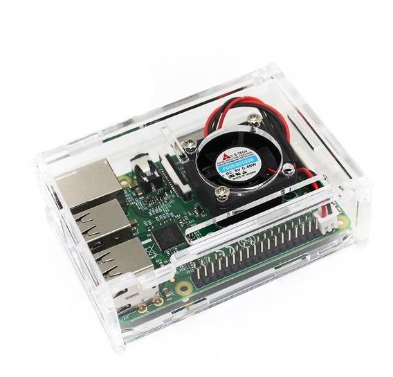 Gabinete Acrilico Raspberry Pi 3 / 3+ / 2 Ranura Cooler Plus