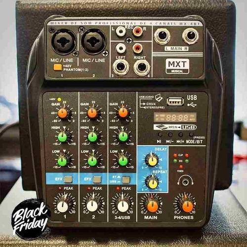 Mesa De Som 4 Canais Mxt Bluetooth Usb Ph Power + Nf!