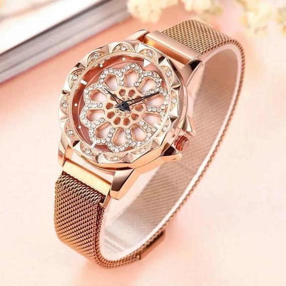 Relógio Importado Crystal Spinner Rosê (preço De Revenda)