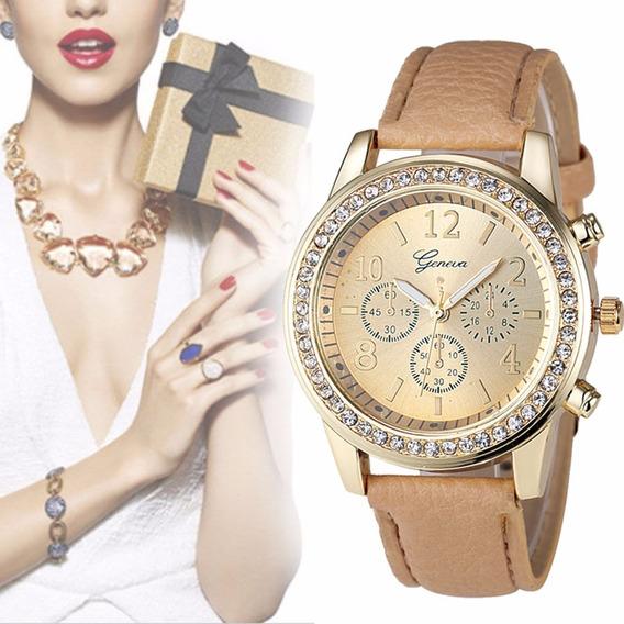 Relógio Feminino Geneva De Couro Com Strass Elegante Bonito