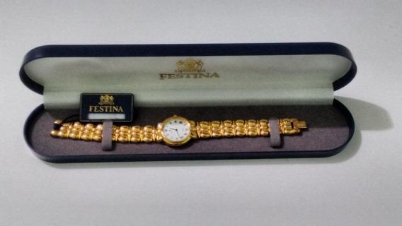 Relógio Festina 28mm Em Aço Dourado. Lindo.