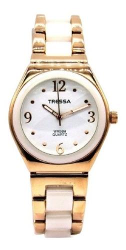 Reloj Tressa Dama Blanco Y Dorado Modelo Delfi
