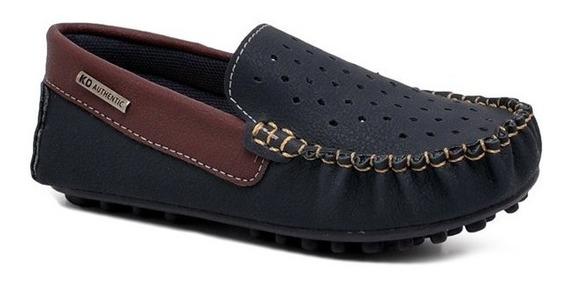 Sapato Infantil Mocassim Kidy 050-0002 Azul/bordo