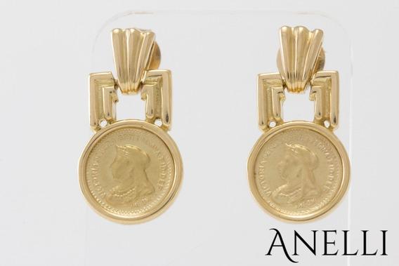 Brinco Feminino Medalha Em Ouro 18k Maciço