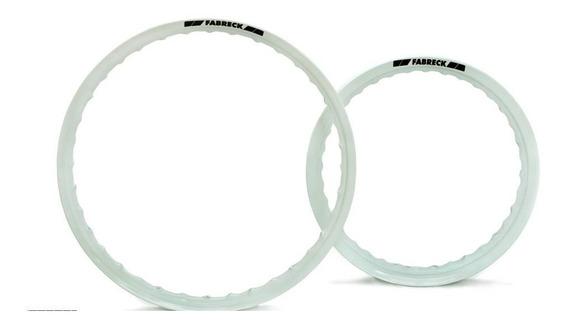Par Aros Em Alumínio Cor Branca Moto Titan Fan 125 150