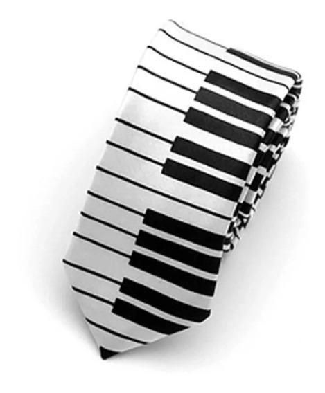 Corbata Slim Piano, Teclado. 5 Cm Ancho.