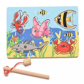 Brinquedo Educativo De Madeira, Pescaria Magnetica.