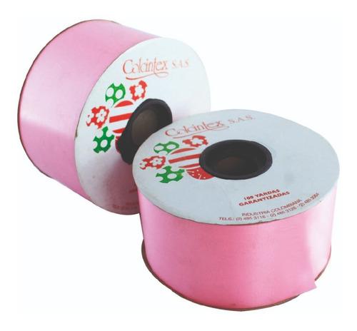 Imagen 1 de 2 de Cinta Decorativa Rosada 6 Cm X 50 Yardas