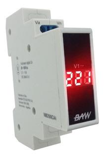 Voltimetro Digital Monofasico 1 Modulo Din Baw 0-500va