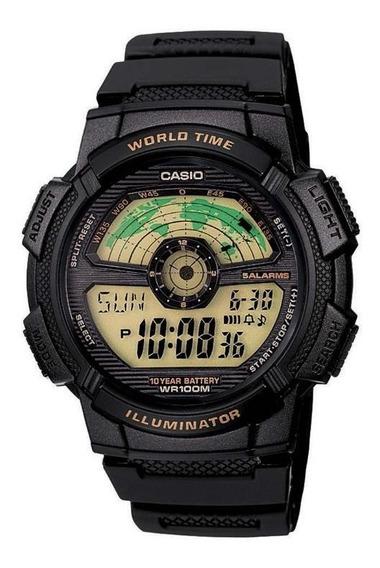 Relógio Casio Illuminator Ae1100w-1bvdf Hora Mundial