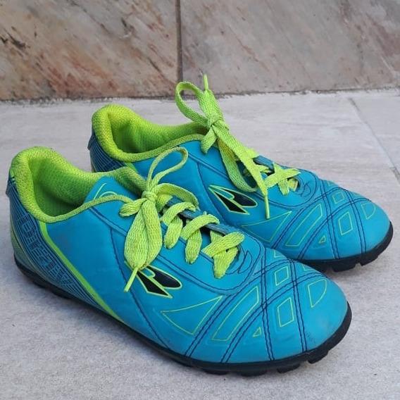 Chuteira Feminina Dray Usada P/ Futebol Society Azul E Verde