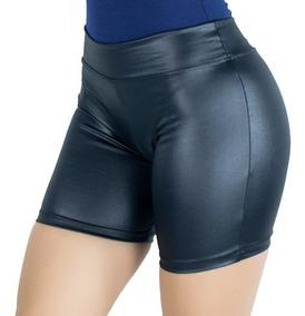 Kit 2 Short Cirre Feminino Couro Fake Cintura Alta Verão