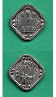 Grr-moneda De India 5 Naye Paise 1957
