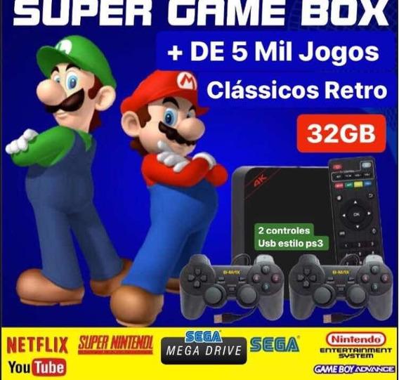 Super Game Box Jogos Super Nintendo Mega Drive + 2 Controles