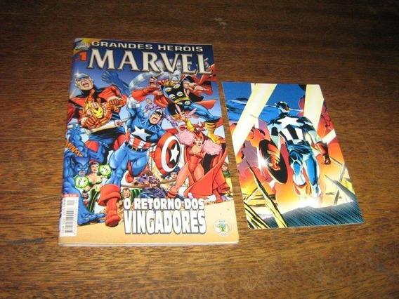 Grandes Herois Marvel Nº 1 Com Cartão Postal Raro !