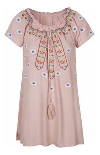 Blusa Bordada Pink Paisana Remera - Quality Import Usa