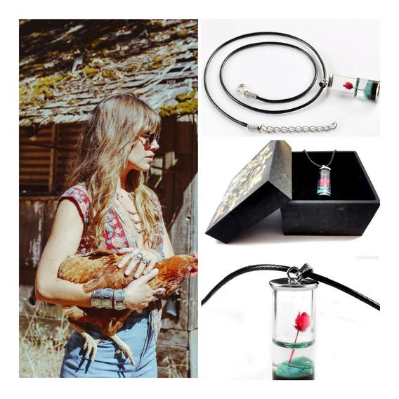 Colar Hippie,vidro,mini Flor,c/caixa,top, Artesanal,natural