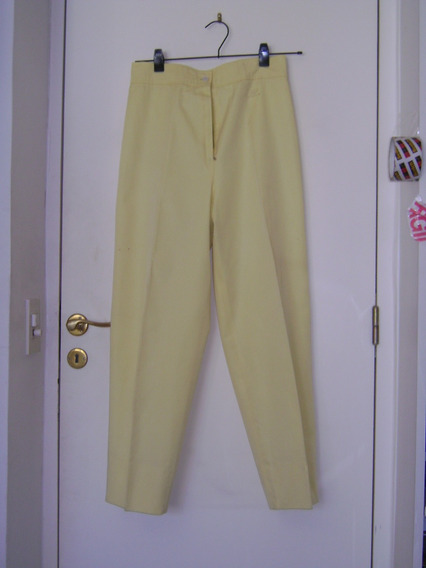 Pantalones Courregs Amarillo Forrados Talle 40 Cierre