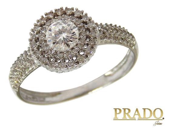 Anel De Noivado Casamento Ouro Branco 18k Diamante 30 Pontos