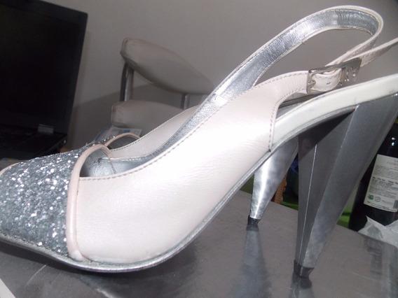 Vintage Zapato Sandalia Sarkany Blanco 38