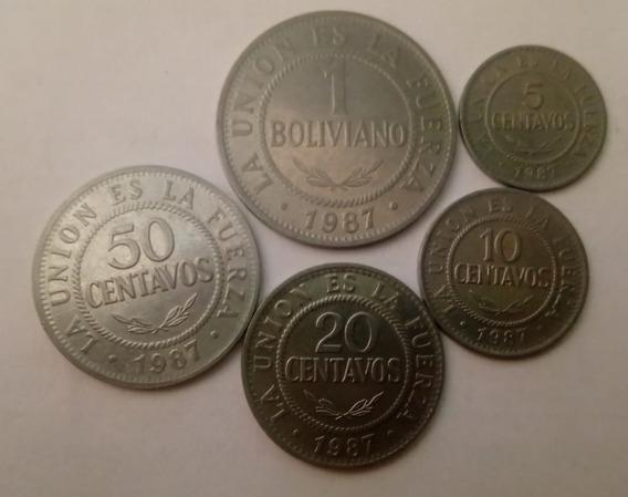 5 Moedas Bolívia 1987 1 Boliviano 5,10,20 E 50 Centavos *111