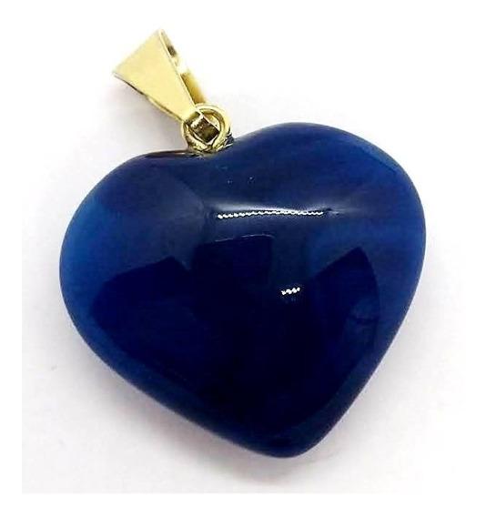 Pingente Coração De Ágata Azul Pedra Da Paz Interior E Cura
