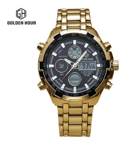 Relógios Masculinos Dourado Luxo Inox Original Gh-108