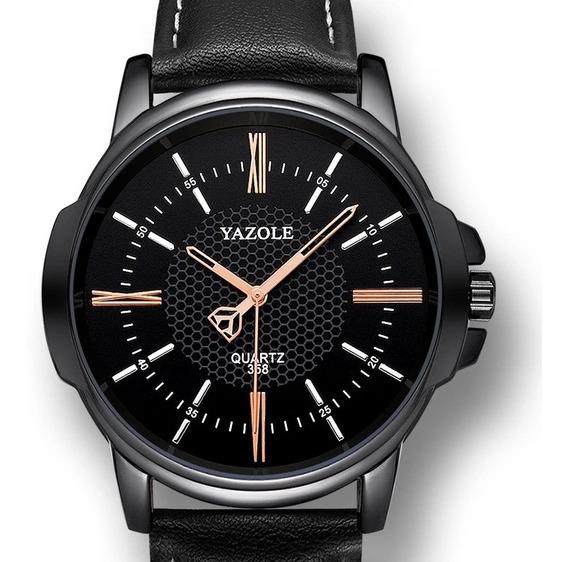 Relógio Masculino Yazole 358 Total Black Pulseira Em Couro