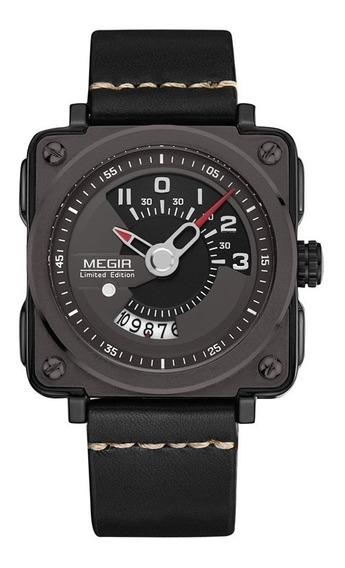 Reloj Calendario Megir 2040 Byn - Original