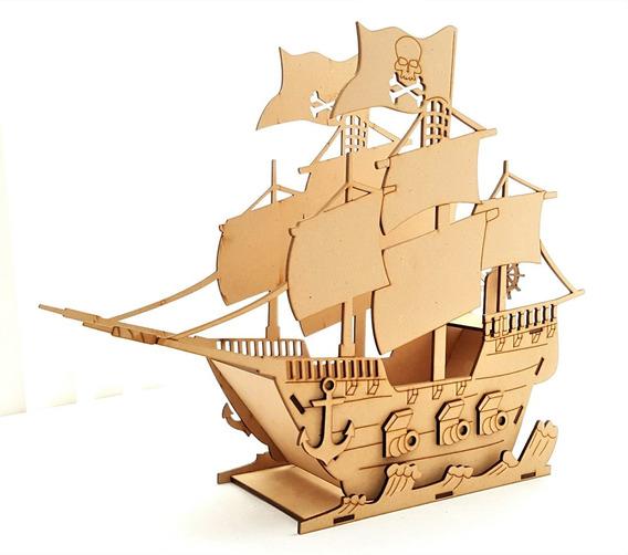 Barco Pirata 3d Mdf Centro De Mesa Bpg Con Nombre Grabado