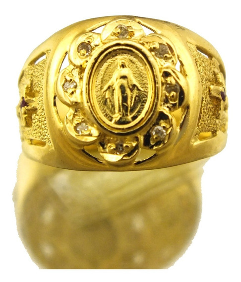 Anel Nossa Sra Da Medalha Com Brilhante Ouro 18k J21590