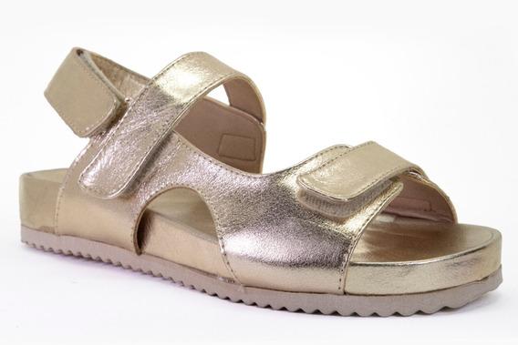 Papete Birken Feminina Metalizada Dourada Couro Legítimo