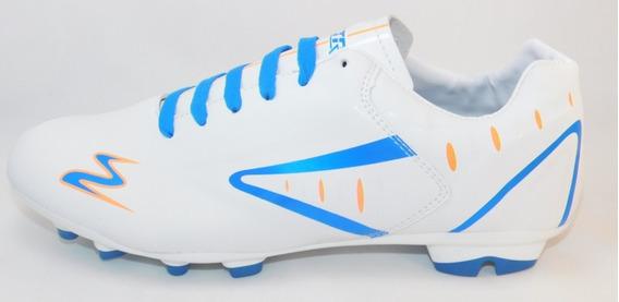 Zapato De Futbol Soccer Blanco/azul/naranja Cod.434