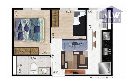 Apartamento Com 2 Dormitórios À Venda, 50 M² Por R$ 252.000,00 - Jardim Itacolomi - São Paulo/sp - Ap2717