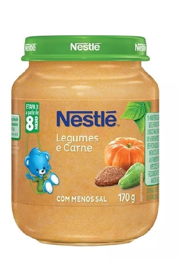 Papinha Nestlé Legumes Com Carne 6 Potes De 170g Premium