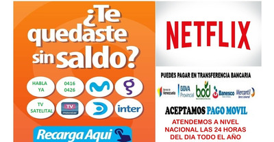 Recarga Saldo 0426-0416, Movistar, Digitel, Inter, Directv