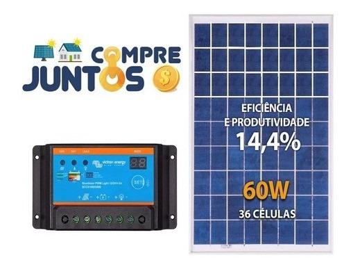 Placa Painel Solar Fotovoltaico 60w Mais Controlador Carga