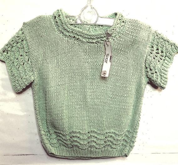 Sweaters M/c Calado Y Otro C/cuadrados Artesanal Ninas/os