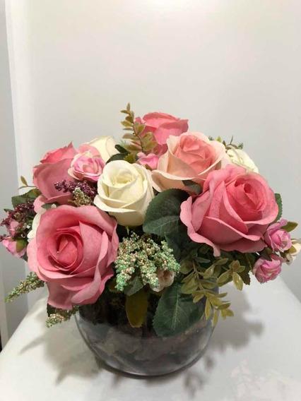 Arranjo Rosas Brancas/rosas Artificiais Vaso Redondo Vidro