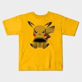 Remera Dragonfly Negra Y Blanca Pikachu Pokemon  Col. C 28