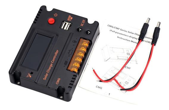 Bateria 12v 24v Lcd Carga Solar Controlador Painel20a