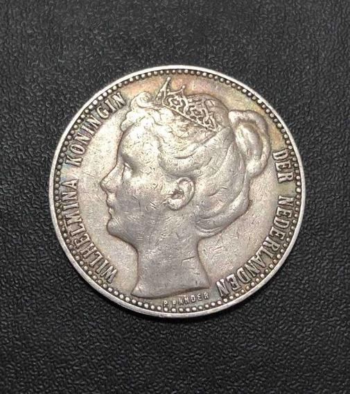 Moeda Antiga 1 Gulden 1909 Holanda Wilhelmina - Prata