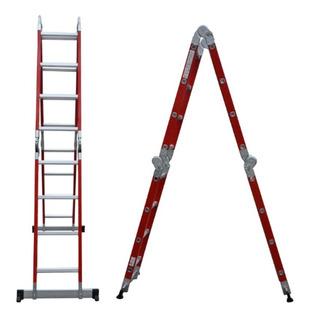 Escalera Dieléctrica Aluminio Lusqtoff Le400die 4x4 2.32 Mts