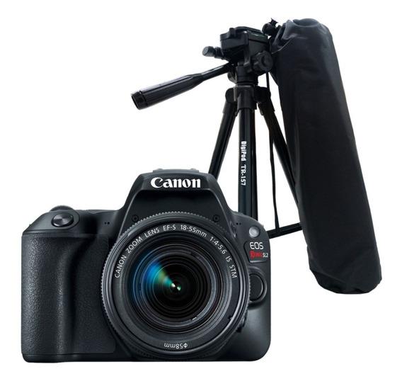 Câmera Canon Eos Rebel Sl2 + Lente 18-55mm Is Stm + Tripé