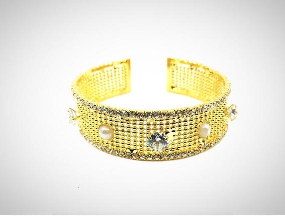 Vogary Brazalete Chapa Oro 18k Swarovski Perla Joyeria Mujer