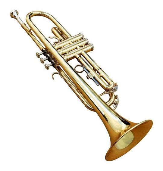 Trompeta Dorada Con Estuche Y Accesorios De Limpieza