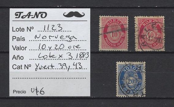 Lote1123 Noruega 10 Y 20 Ore Año 1883 Yvert# 39 Y 43