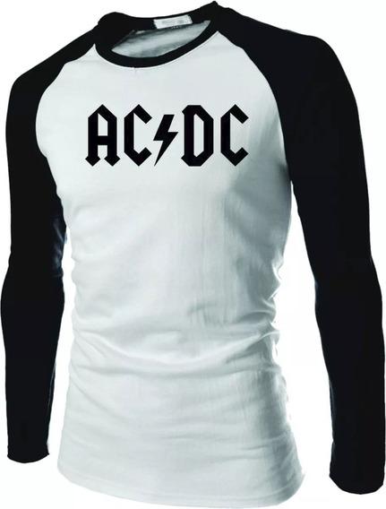 Camisa Camiseta Ac Dc Raglan Manga Longa Rock