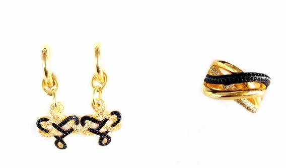 Semi Jóias Anel N°18 E Brinco Dourado Com Pedras Preta